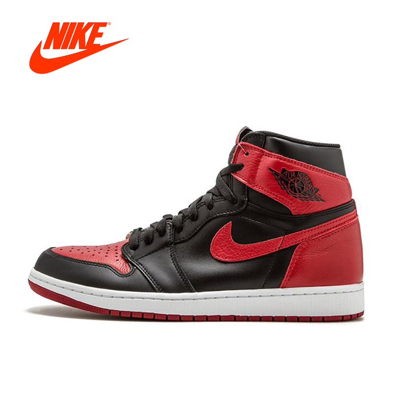 Original New Arrival Official Nike Air Jordan 1 OG Banned AJ1 Breathable Men's Basketball Shoes Sports Sneakers баскетбольные кроссовки nike air jordan air jordan retro hi og laser aj1 705289 100