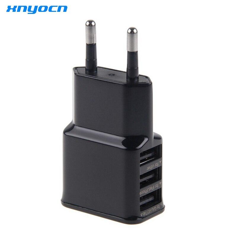 5V 2A EU Plug 3 USB Multi Ports Wall Charger Adapter For Samsung Galaxy Tab Smart Phones Black