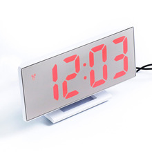 Fashion LED Digital Alarm Clock Mirror Multifunction Snooze Display Time Night Desktop Gift