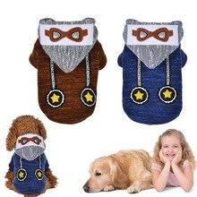 1 Pcs Pet Dog Clothes Cute Glasses Pattern Hoodie Winter Warm Sweatshirt Outwear Hot Sale
