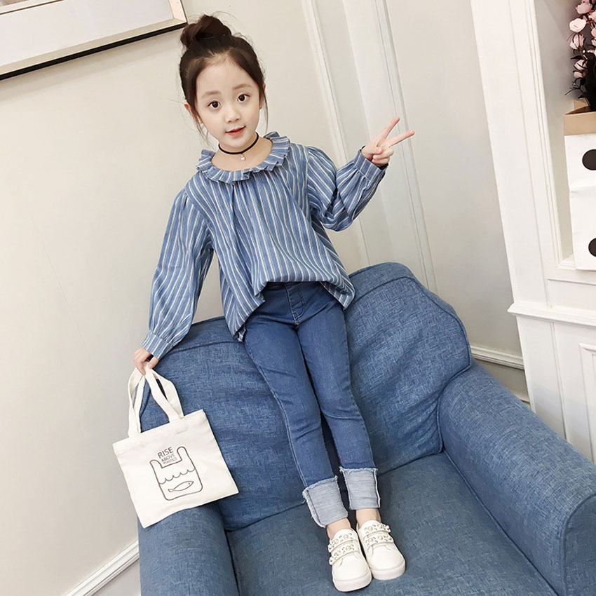 2PCs Children Casual Clothing Set Baby Girls Cotton Stripe Blouse Flare Sleeve Princess Jeans for Kids Girls Costumes 110-160cm