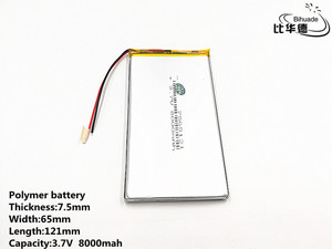 Image 4 - 2pcs/lot Good Qulity 3.7V,8000mAH,7565121 Polymer lithium ion / Li ion battery for TOY,POWER BANK,GPS,mp3,mp4