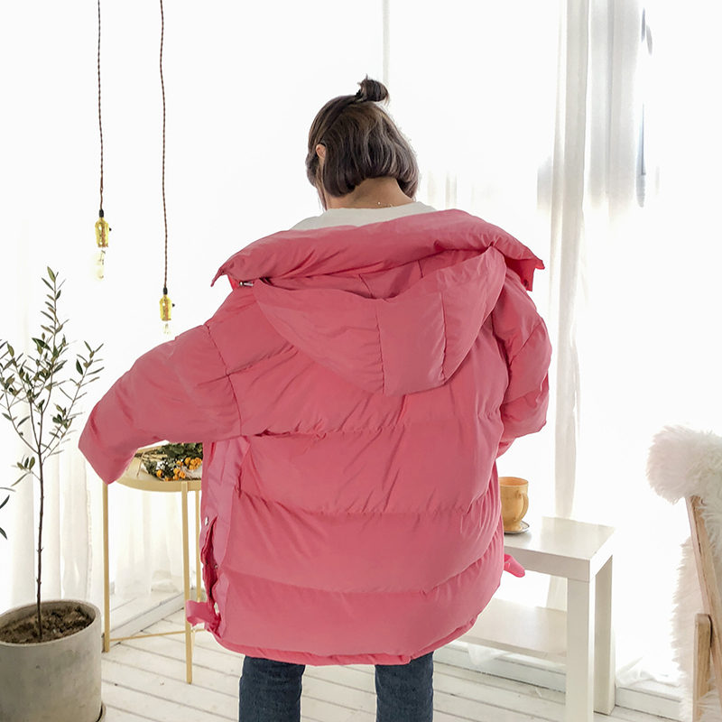 Épaississement Parkas Pain À yellow G0227 Manteau Coréenne D'hiver Étudiants Nouvelle Unie Service Femmes Capuche pink Black Coton Couleur Mode Dames De white green Version CZqT8