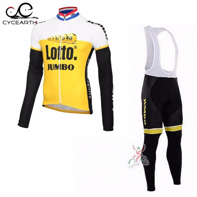 ФОТО 2016 Lotto jumbo cycling jersey Ropa Ciclismo long sleeve autumn thin clothes bib pants quickdry MTB Bicycle maillot GEL
