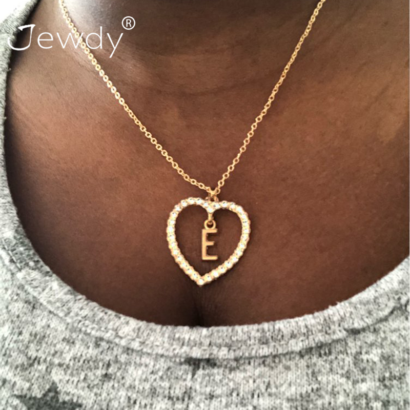 Chic Crystal Initial Alphabet Letter A-Z Love Heart Pendant Necklace Chain Charm