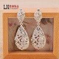 Noiva moda de luxo Brincos de cristal senhora tipo queda exagerada oco fabricantes de jóias que vendem Brincos de casamento