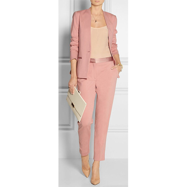 Custom Pink Womens Business Suits Blazer With Pants Female Trouser