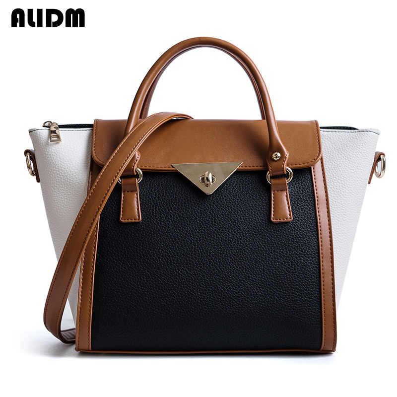 Women Panelled Tote Bag Ladies Litchi Pattern Leather Handbag Female Large Capacity Shoulder Bags Fashion Patchwork Bolsos Mujer 2018 new women bag ladies shoulder bag high quality pu leather ladies handbag large capacity tote big female shopping bag ll491