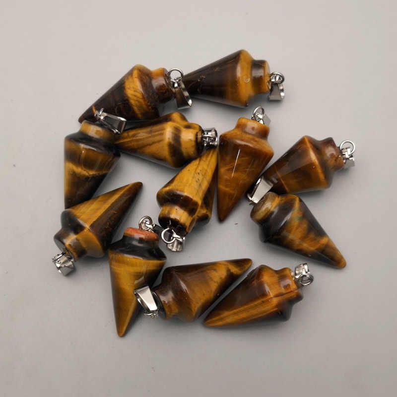 Moda 12 pc pêndulo pedra natural de Alta Qualidade Mista Cone circular Cônico encantos pingente para fazer jóias por atacado