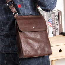 AETOO Mens leather shoulder bag, head casual fashion simple cowhide sloping bag
