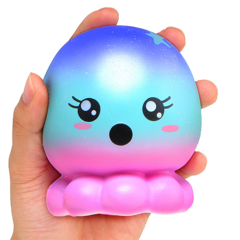 Slow Rising Blue Octopus Squash Jumbo Anti-stress Animal Soft Squishy Toys Stress Reliever Squishes Cute Fidget Antistress Toy