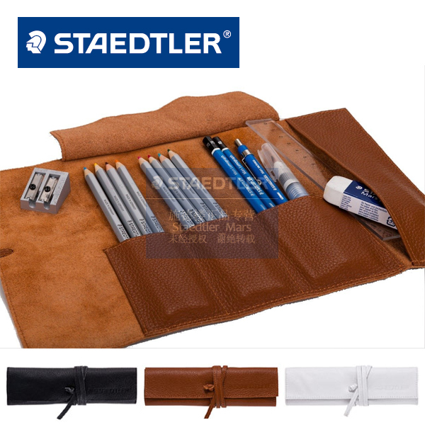 LifeMaster (Pens NOT Includes)Genuine Staedtler Real Leather Pencil Bag Simple Business Black/White/Brown Container Perfect Gift