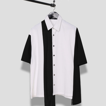 2019 Men's shirt features black and white contrast color patchwork casual short-sleeved men's shirt