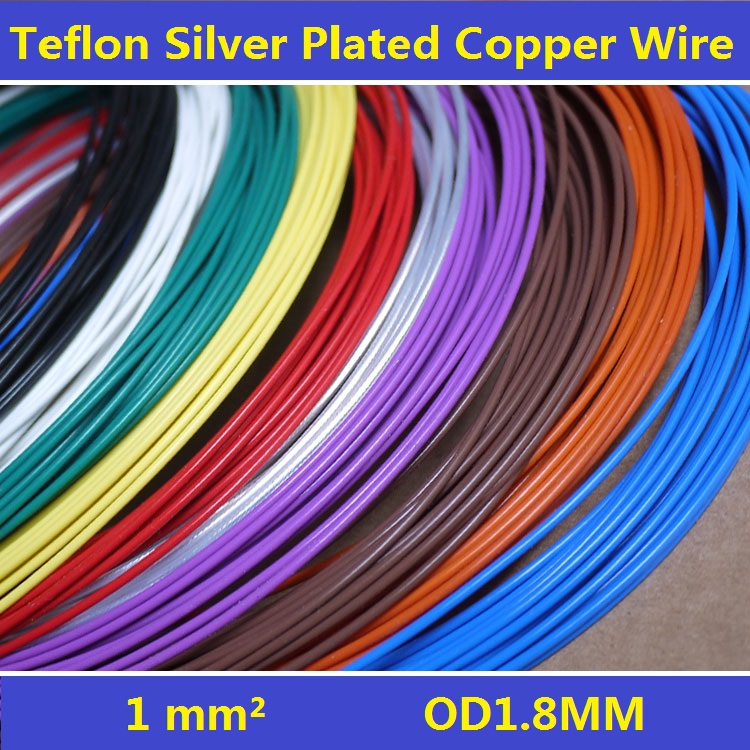17AWG 1.8mm Teflon Silver Plated Wire Silver Plated Oxyten-Free Copper Cable 19 Strands Free Shipping free shipping 95m acrolink silver plated 6n occ signal teflon wire cable 1 0mm2 dia 1 6mm for di