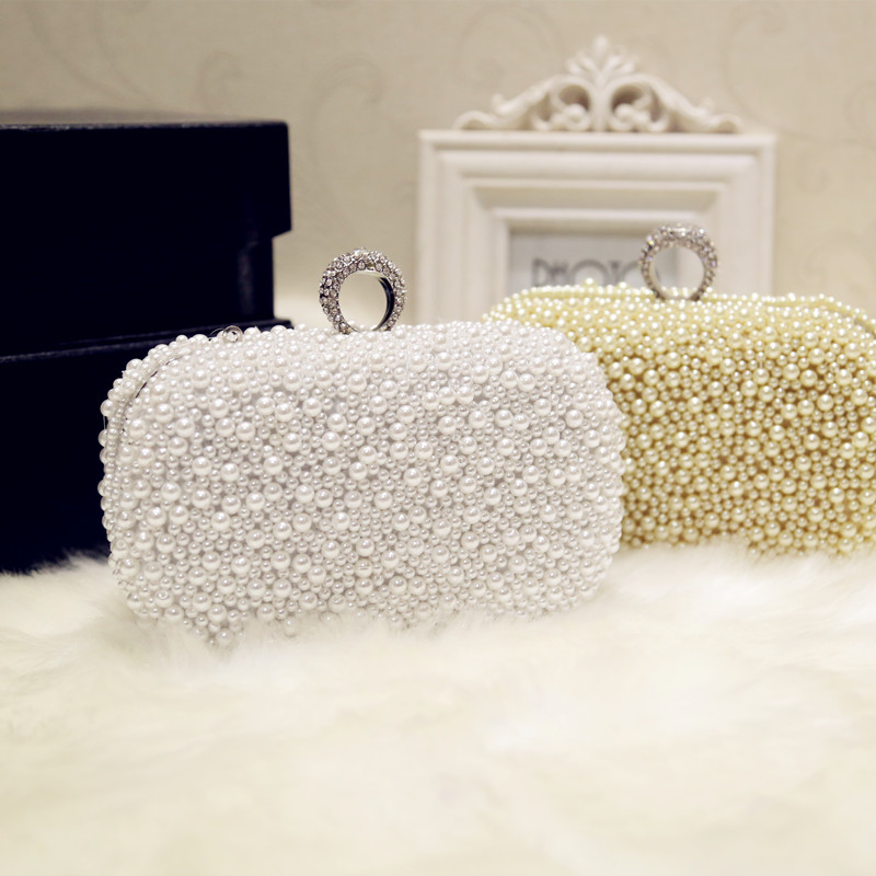 High Quality Pearl Bag Clutch Rhinestone Luxury Party Prom Evening Bag Clutch Chain Bag Ladies Handbag