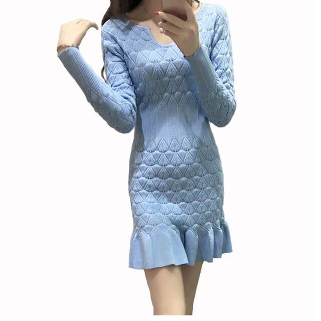 da7fc1208715 placeholder New Style Women Ribbed Trims Fishtail Knitted Sweater Dresses  White Blue Black Long Sleeve