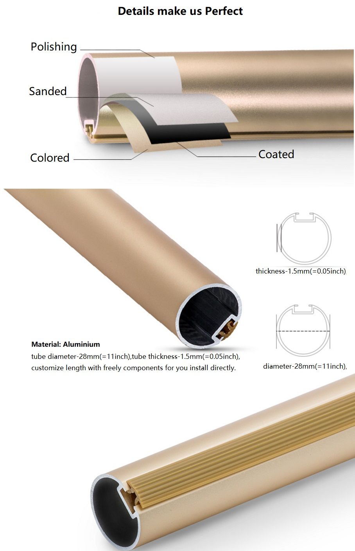 R$ 97 58 |Luxo Cortina Haste Dupla Pista (material de Alumínio, Diamater  28mm, Espessura de 1 5mm) de Comprimento Personalizar Livre grátis em