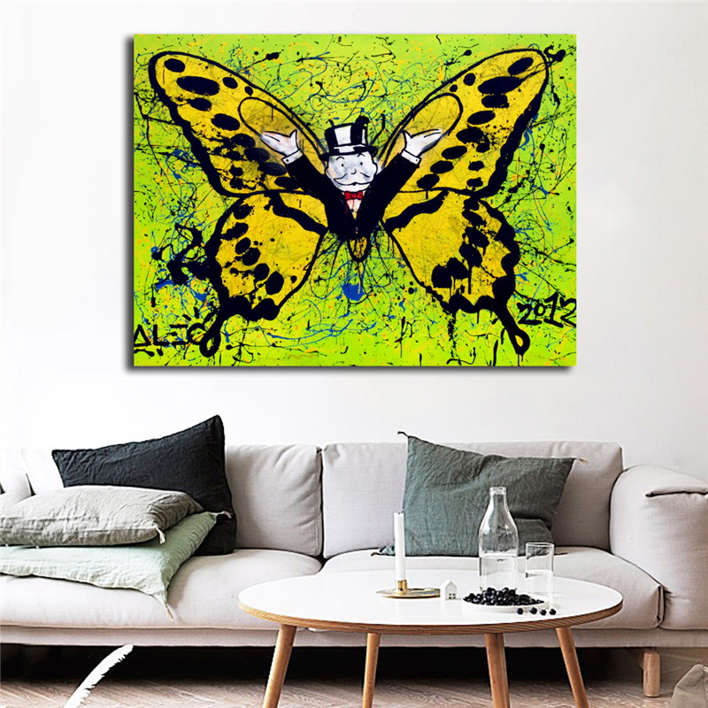 Alec Monopolyingly Butterfly Graffiti Street Art Canvas Painting Poster Wall Picture Print Home Bedroom Decoration HD