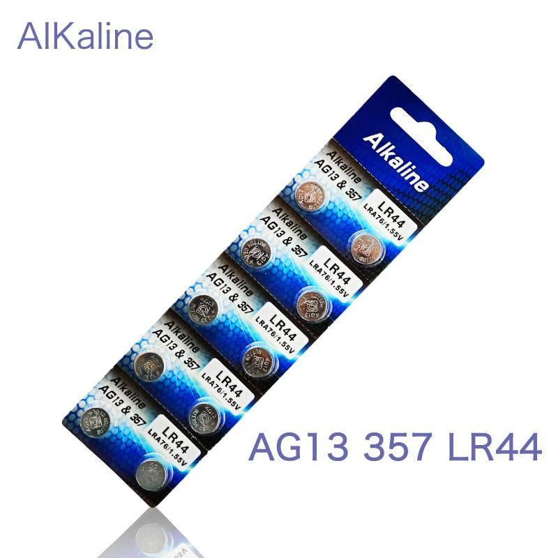 10pcs 1 cards AG13&357A/LR44 Button Cell Coin Battery LRA76 1.55V Li-ion Batteries Colorful Night Light Alarm Projection Clock seizaiken sr516sw 1 55v silver oxide cell button battery 10pcs