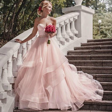 dreaming truing Blush Pink A-Line Wedding Dresses With
