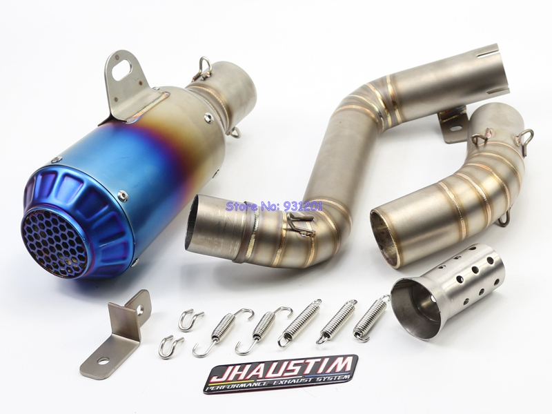 JHAUSTIM Motorcycle Exhaust Muffler and Link Pipe Set for KTM Duke 200 Duke 390 Motorbike Muffler Exhaust Link Mid Pipe Escape