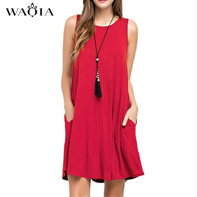e0c28bcb945 WAQIA 2018 Summer Dress Women Plus Szie Dress Sleeveless Boho Style Short  Beach Dress Sundress Casual
