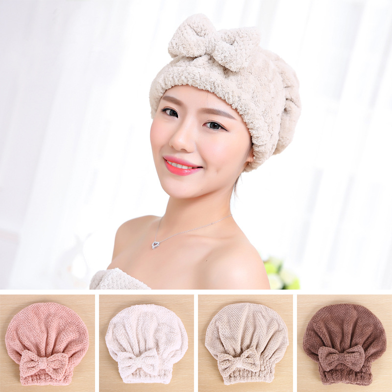 Aprince Dry Hair Cap Thickening Korean Adult Cute Bow Shower Cap Shampoo Hair Quick Dry Towel Absorbent Dry Hair Towel image