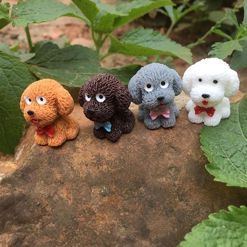 Happy Puppy Teddy Small Pasture Statue Figurine Micro Crafts Ornament Miniatures Small Fresh Garden Hot DIY Home Garden Decor
