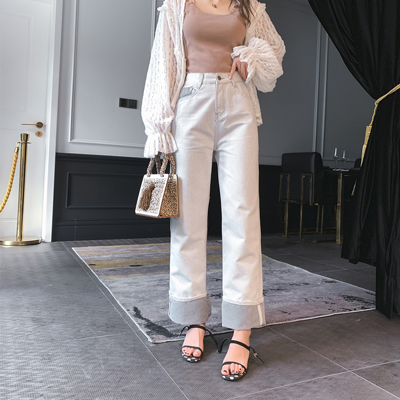Mishow 2019 summer new collection casual sweet office lady pleated pocket ankle length   pants     wide     leg     pants   MX19B2359