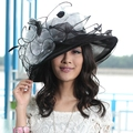 Ladies Women Organza Hat Derby Church Wedding Cocktail Evening Party Beach Dress Cap Sunmer Wide Brim Sun Hat Vintage New