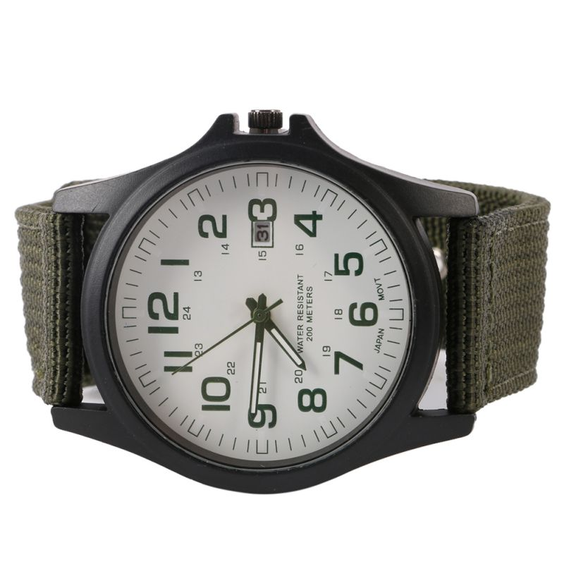 3 kleuren Solider Military Army Watch Heren Sport Style Canvas riem - Herenhorloges - Foto 2