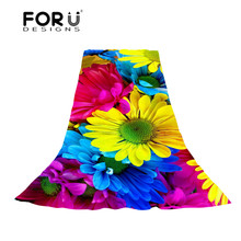 FORUDESIGNS Flower Printing Women Scarves Lady Floral Pattern Long Scarf for Female Fresh Style Beach Scarf Long and Thin Shawl недорого