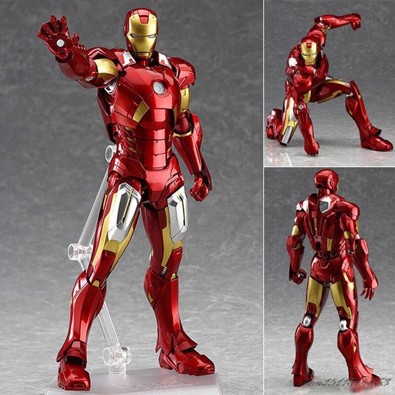 Avenger Iron Man Ålder av Ultron MK42 Mark XLIII Armor Figma 217 Marv Action Anime Figurer Barn Gåvor Leksaker 16cm