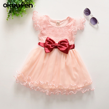 okoufen baby girl clothes kids bow dresses for girls summer children lace dress girls dresses for party and wedding