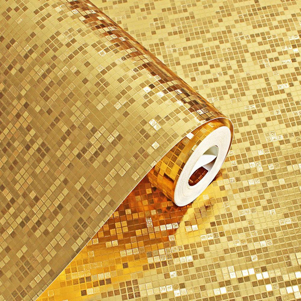 3D Водонепроницаемый флэш зеркальный эффект стикер на стену мини мозаика вспышка Светоотражающая Золотая фольга серебряная фольга обои KTV бар украшение