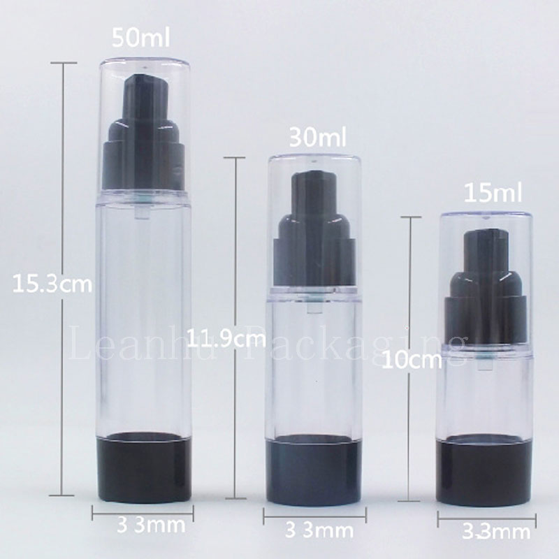15ml 30ml 50ml  Black Airless Bottle Cosmetic Lotion Cream Pump Small Travel Skin Care Cream Container Press Dispenser Bottles-in Refillable Bottles from Beauty & Health    3