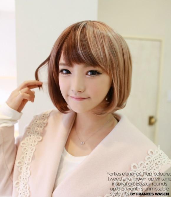 Korean Japan 20cm High Quality Cute Neat Bangs Set Hair Lifelike Color Block Short Bob Straight Female Wig Wig White Wig Buyerwigs Korea Aliexpress