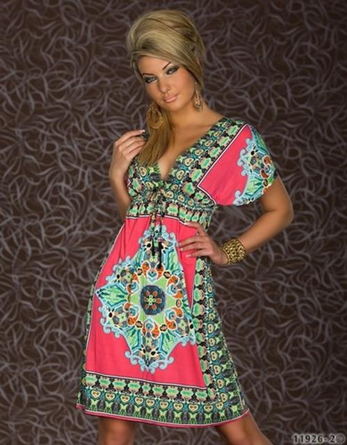f22f8114dec M XXL Plus Size 2014 New Fashion Women Retro 1960s 1970s Vintage Paisley  Printed Loose Bohemian Summer Beach Dress 4178