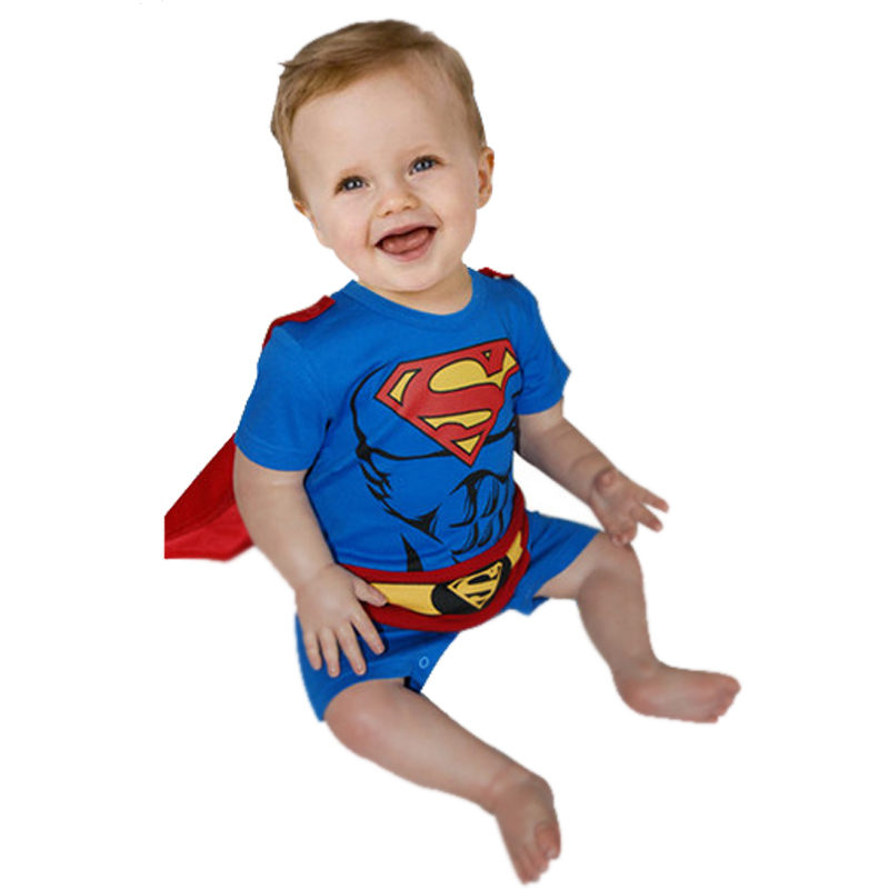Baby Rompers Summer Cute Baby Boys Short Sleeve Jumpsuit Cartoon Toddler Infant Superman Baby Halloween Christmas Costume