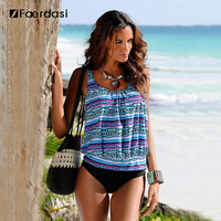 Faerdasi Large Size Swimwear Female Swimsuit With Short Tankini Set Beach Sexy Bikini 2017 Swimming Suit