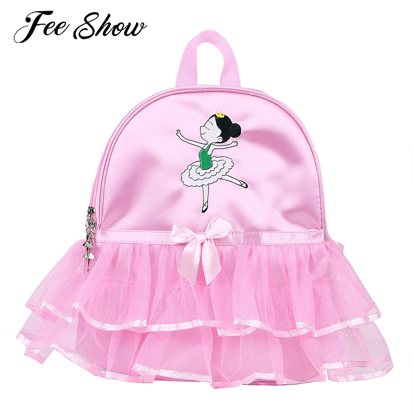 Girls Ballerina Ballet Dance Bag School Students Ballet Bag Backpack Cartoon Girls Embroidered Tiered Ruffled Tutu Shoulder Bags
