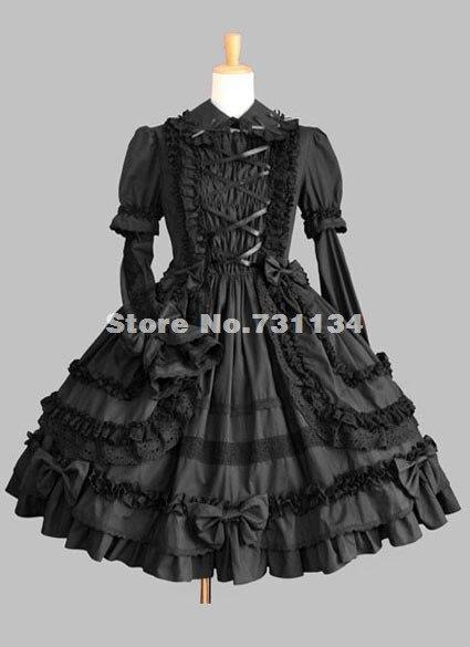 Gothique Chaude Pas Pur Longues Noir Et Dress Cher Manches Vente Lolita Bww8q4nC