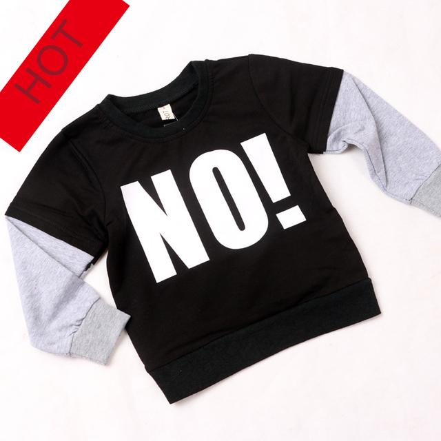 """NOVAS INS outono Moletom Com Capuz carta das crianças NUNUNU """"NÃO"""" Camisola Do Bebê Do Algodão T-shirt da menina do menino tops completo manga preto frete grátis"""
