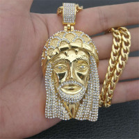 Hip Hop Men Gold Color Iced Out Bling Rhinestone Stainless Steel Big Jesus Piece Necklaces Pendants With Chains Vogue Jewelry