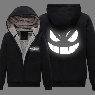P01 New Winter Jackets and Coat  Pocket Monster Gengar reflect light hoodie Anime Pokemon Go 2 Luminous Thick Men Sweatshirts