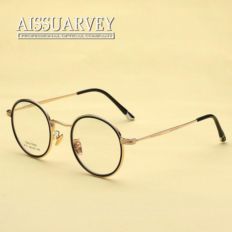 vintage eyeglasses for men women optical eye glasses frame prescription online korean round metal exquisite brand designer new