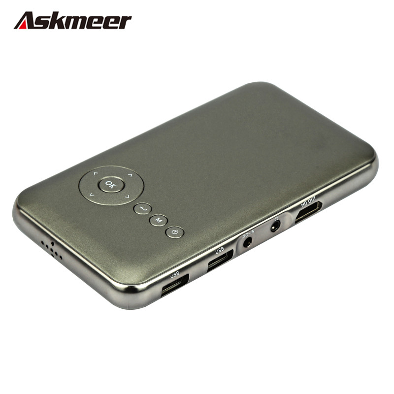 Askmeer Portable Mini Home Cinema Projector 1G+16G DLP LED Wifi HD Projector Android 4.4 With HDMI for Business Travel Outdoor