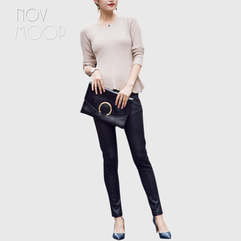 Femmes noir véritable cuir crayon pantalon véritable agneau taille élastique pantalon mat au-dessus des chevilles pantalon femme LT2723