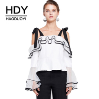 HDY Haoduoyi Marie Cravatta Spalla Ruffle Donne Camicette Solido Bianco Patchwork Backless Split Femminile Dolce Shirt Lady Sexy Camicie
