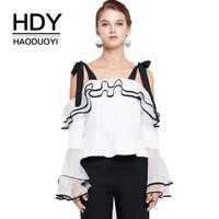 HDY Haoduoyi Marie Hombro Tie Ruffle Blusas de Las Mujeres Sólido Blanco Patchwork Sin Respaldo de Split Femenina Dulce Camisas de Señora Camisas Sexy